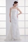 Elegantes langes weißes Etui-Linie Trägerloses Brautkleider