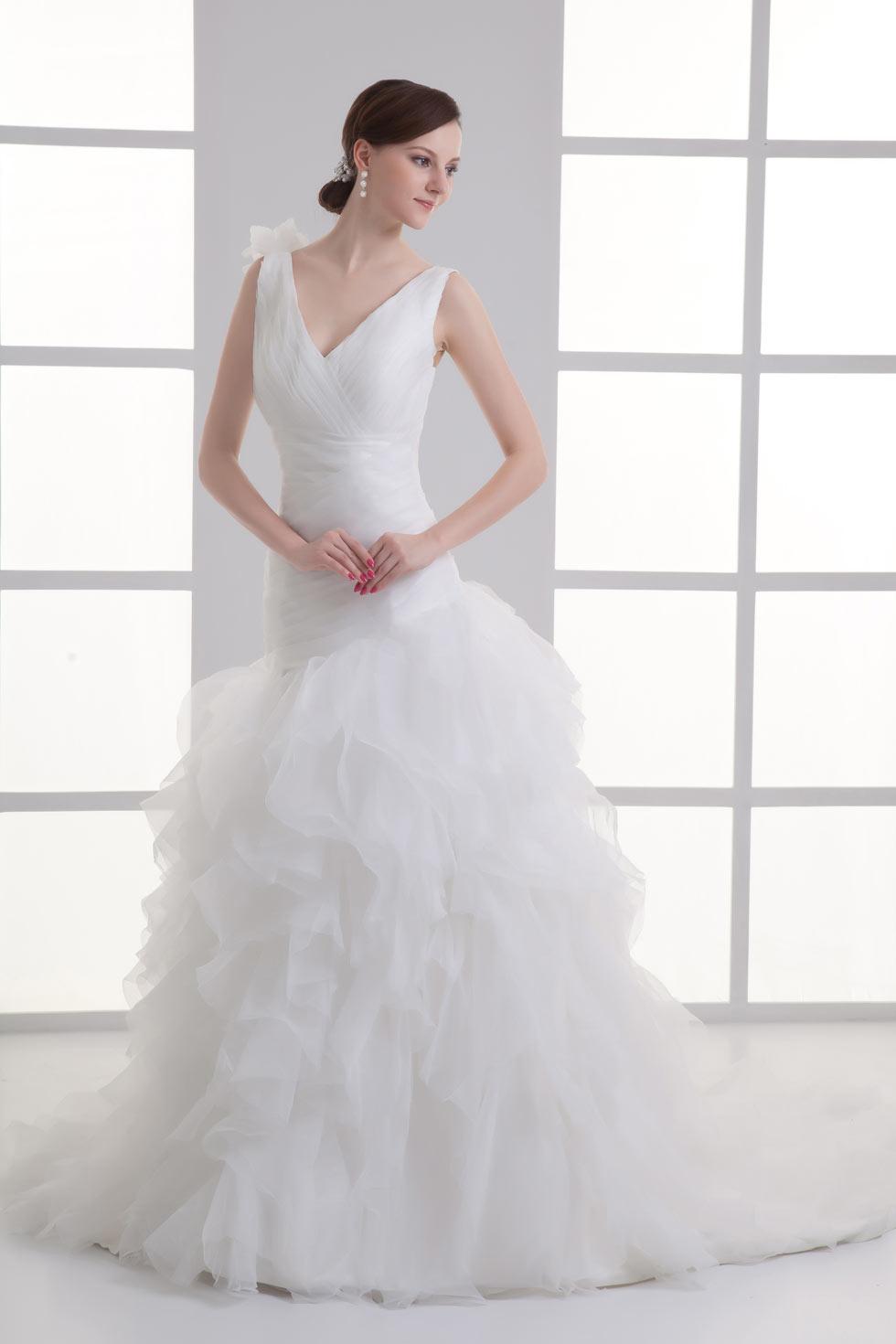 Colonne robe de mariée à volants ruchée en organza