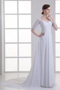 Robe de mariée empire simple à manche mi-longue