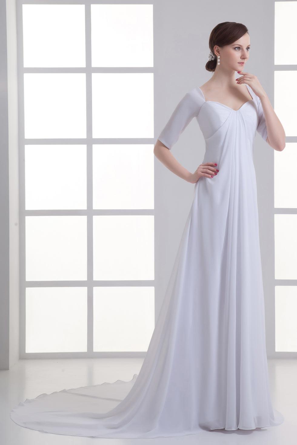 new york hot sale best loved Robe de mariée empire simple à manche mi-longue - Persun.fr