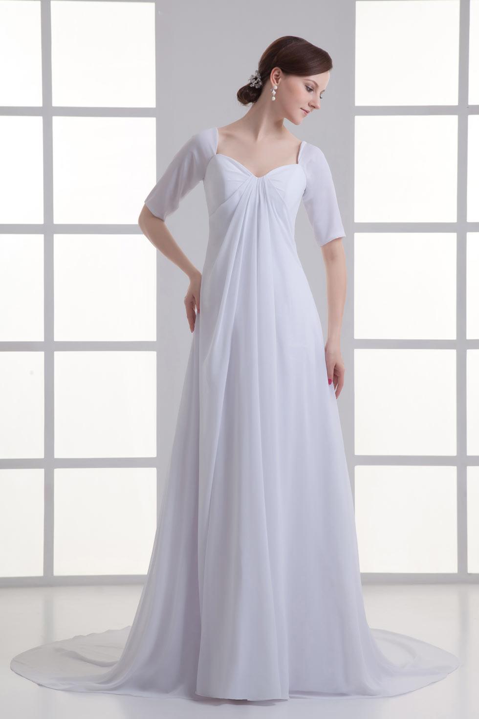 robe de mariée simple empire bustier coeur avec manche courte