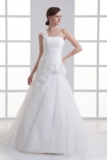 Fleurie robe de mariée ruchée en organza à seule épaule