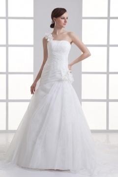 Fleurie robe de mariée ruchée en organza asymétrique