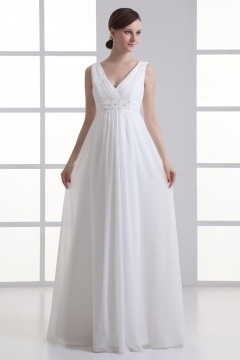Robe de mariée simple à col V empire avec fronces