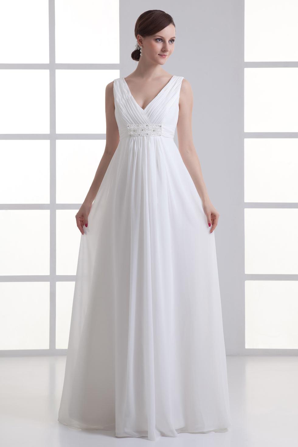 28521bcac30 Robe de mariée simple à col V empire avec fronces - Persun.fr