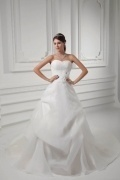 Robe pour mariée en organza à traîne courte fronces au haut