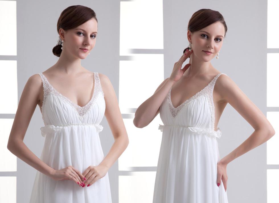 Robe femme enceinte de fiançailles à haut brodé de bijoux