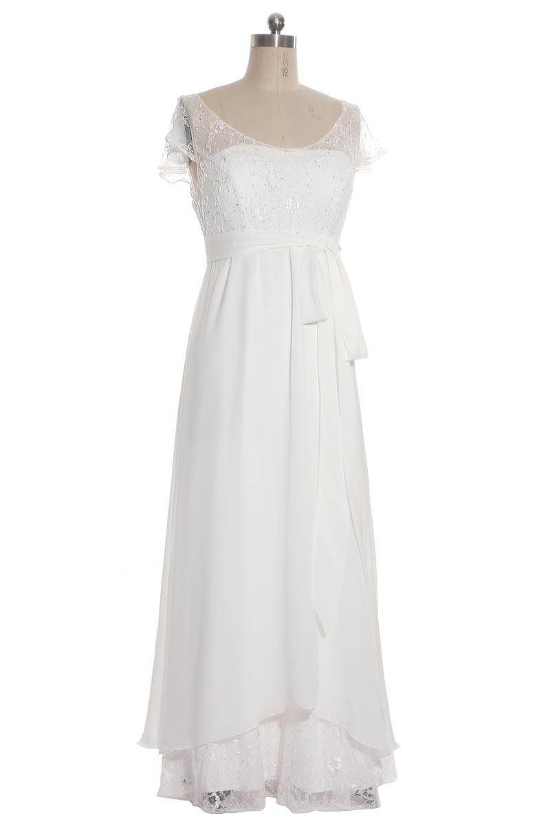 robe de mairée longue haut en dentelle col rond mancheron et jupe ornée dentelle et sequin