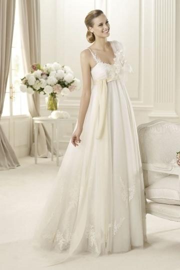 Robe de mariage empire avec fleurs 3D pour mariées enceintes
