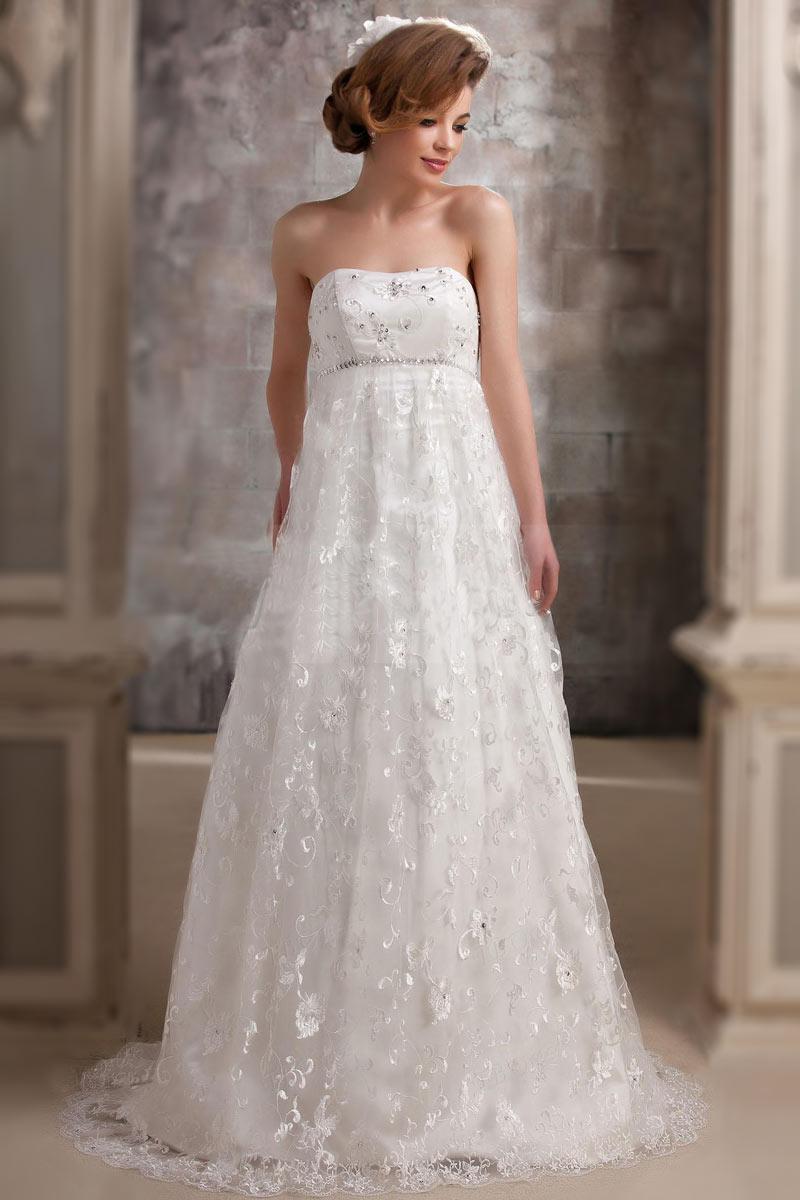 robe de mariée empire rétro bustier en dentelle ligne A