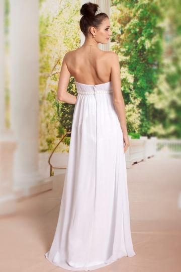 67f592a1c2b Robe grossesse pour mariage ou soirée blanche à bustier droit empire