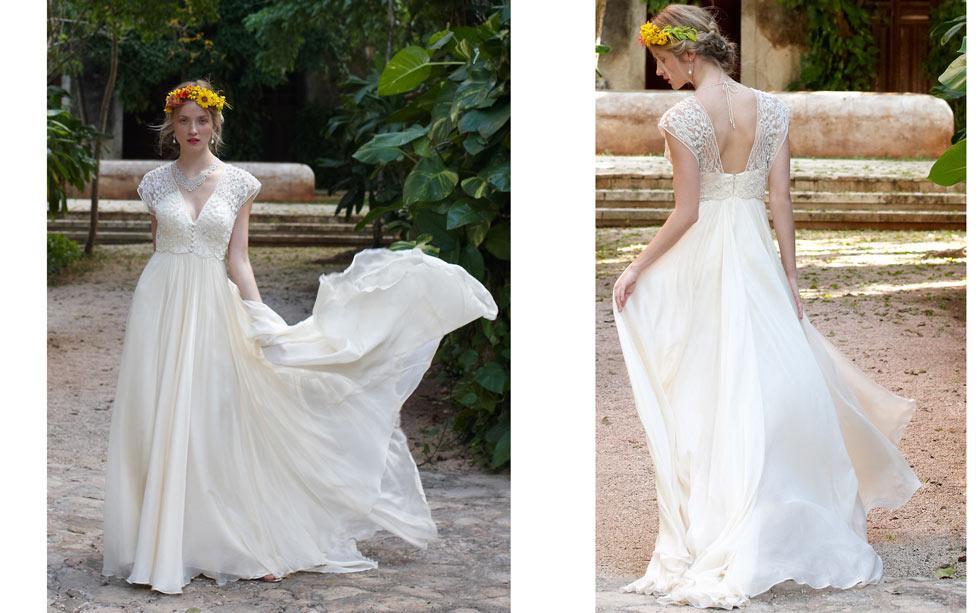 robe mariée empire boho à col v