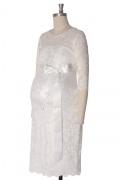 Robe de grossesse dentelle ivoire courte avec manches courtes pour mariage
