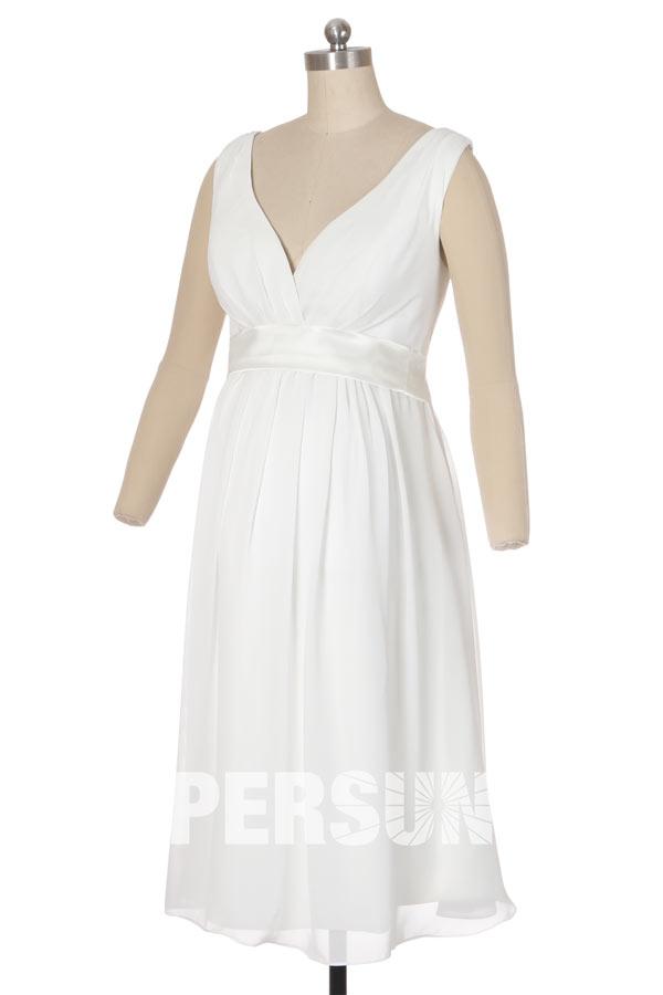 robe de mariée enceinte simple empire col v