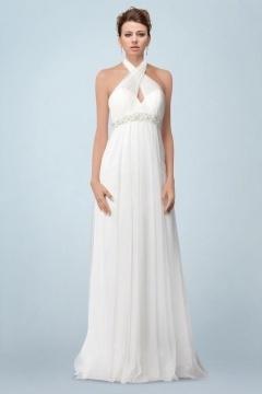 Sexy robe de mariée pour femme enceinte en tulle dos largement échancré