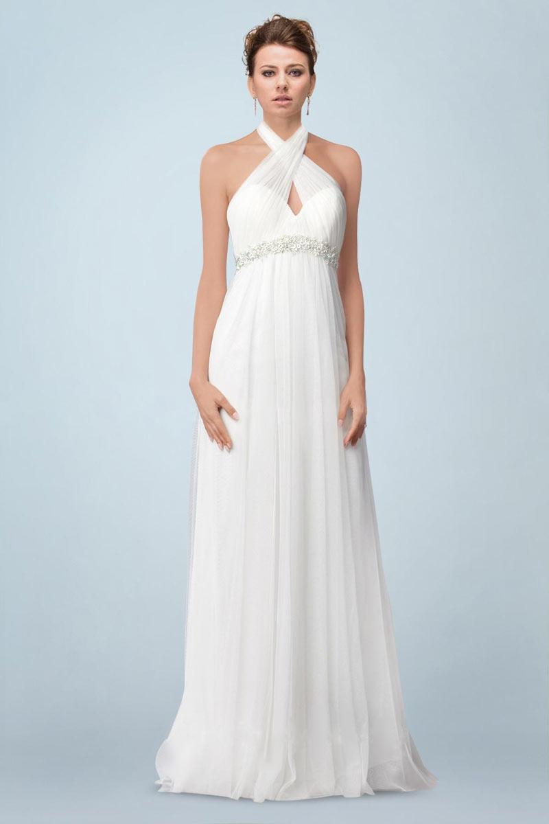 simple robe de mariée empire col halter croisé