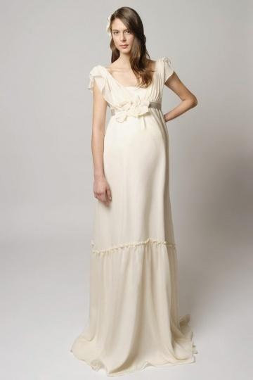 Robe grossesse rétro pour mariage ou soirée empire avec fleurs fait main