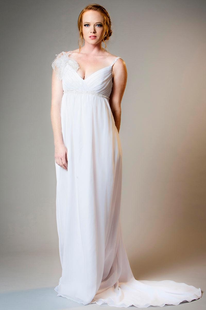 robe enceinte longue sexy col v empire bustier plissé ornée de fleurs fait-main