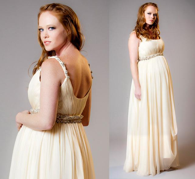 robe enceinte meringue avec ceinture tressée & bijoutée
