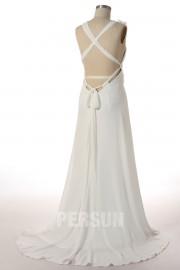 Sexy A-Linie V-Ausschnitt ivory Empire Brautkleider, Abendkleider aus Chiffon