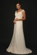 Vintages Herz-Ausschnitt A-Linie Langes Spitze Brautkleider mit Ärmel
