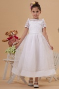 Bateau White Tea length sleeved Embroidery Bow Princess Flower Girl Dress