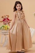 Robe cortège fille dorée en Taffetas à froufrou
