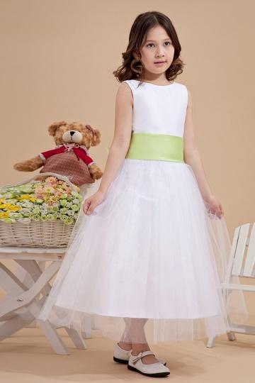 Robe mariage enfant blanche en tulle à noeud papillon