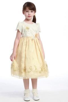 Robe fille d'honneur col ronde à manche courte ornée de fleurs