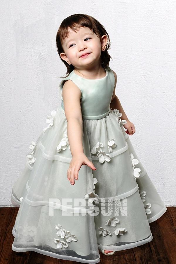 robe fille fleur vert princesse embelli de fleurs fait-main