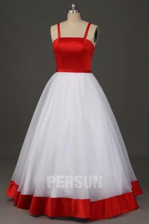 Robe de soirée rouge blanche princesse avec bretelles spaghetti