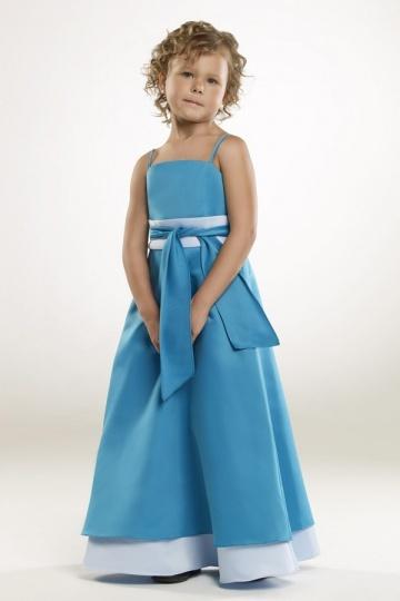 Robe mariage enfant bleue en satin avec bretelle spaghetti