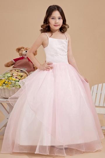 Robe fille d'honneur rose décolleté carré en organza