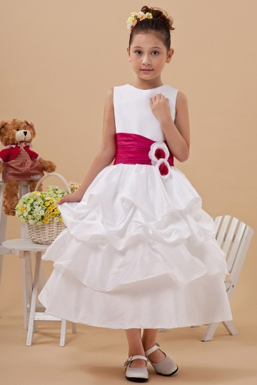 fe01b3b993311 Robe de cérémonie fille blanche et rouge ornée de fleurs - Persun.fr