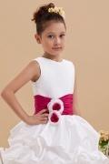 Robe de cérémonie fille blanche et rouge ornée de fleurs