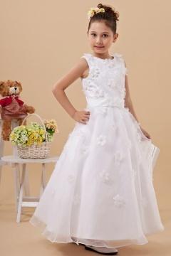 Robe cortège fille blanche longue parsemée de fleurs