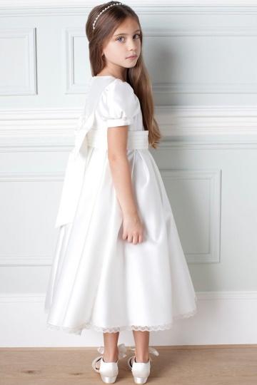 55faa65eb2d67 Robe mariage enfant blanche à manche courte en satin - Persun.fr