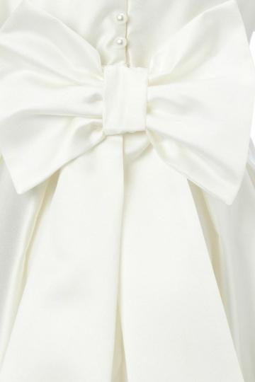 5343aa17de20b Robe mariage enfant blanche à manche courte en satin - Persun.fr