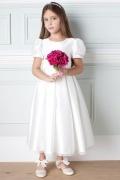 Robe mariage enfant blanche à manche courte en satin