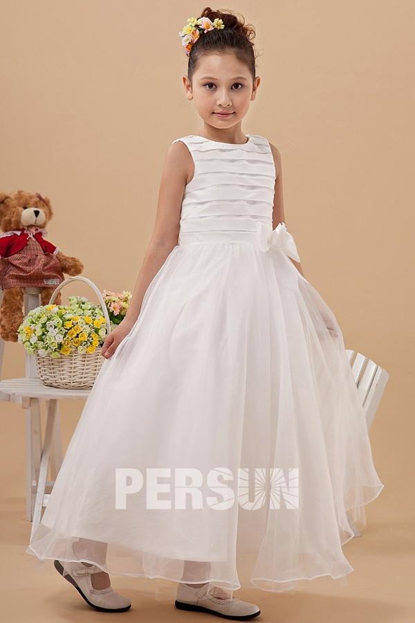 2b820e973e11e Robe fille dhonneur longue blanche en organza à rayures - Persun.fr
