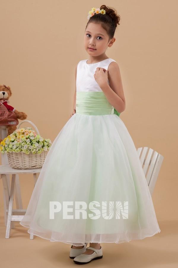 436021d6372a9 Robe cortège fille blanche et verte à nœud papillon au dos - Persun.fr