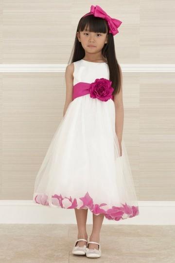 e6d80e73534 Robe mariage enfant bicolore en tulle ornée de fleur - Persun.fr