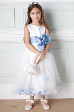 Robe mariage enfant bicolore en tulle ornée de fleur