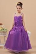 Robe cortège fille violette à bretelle ornée de fleurs