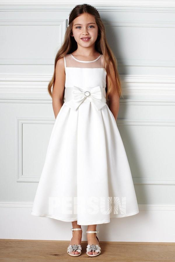 Robe mariage enfant longue en satin à nœud papillon