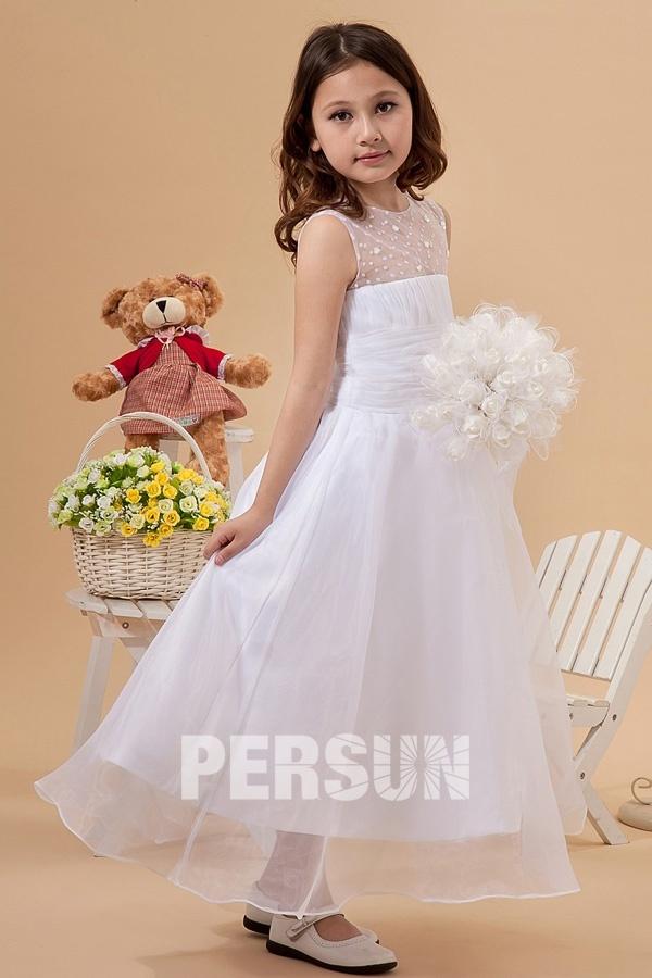 robe de fille fleur princesse col illusion plumetis et taille plissé