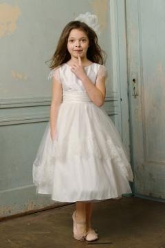 Robe de cérémonie fille princesse col bateau à mancheron