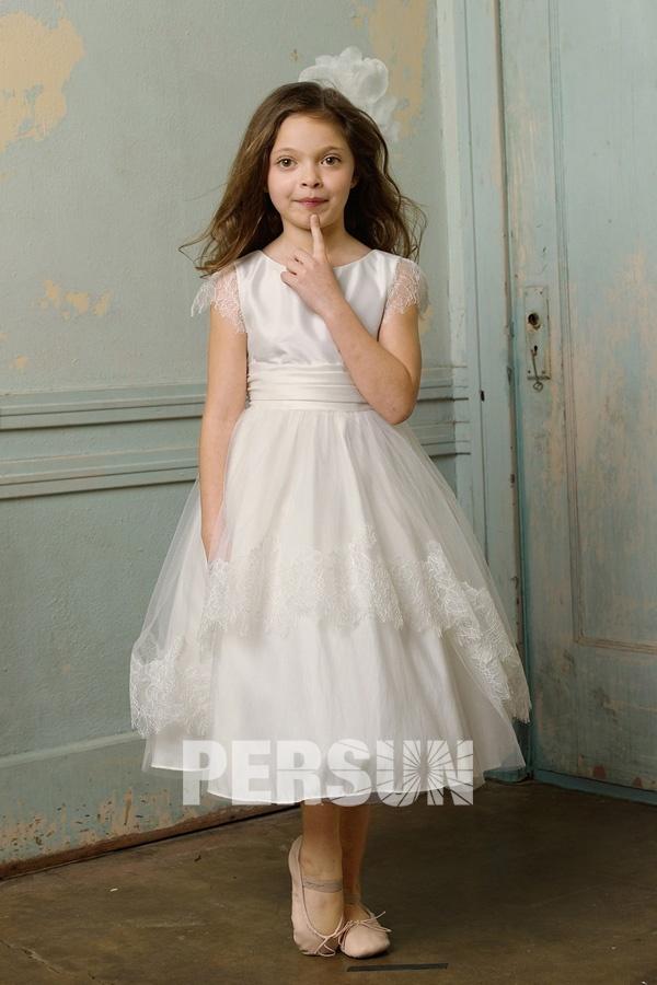 robe de cérémonie fille princesse taffetas col bateau à mancheron