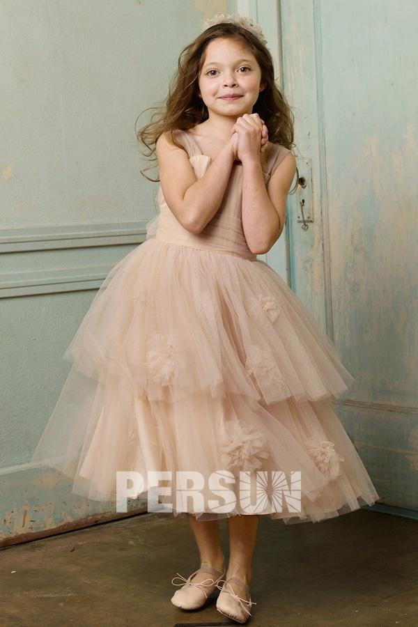 robe de fille champagne en tulle embelli de strass élégant