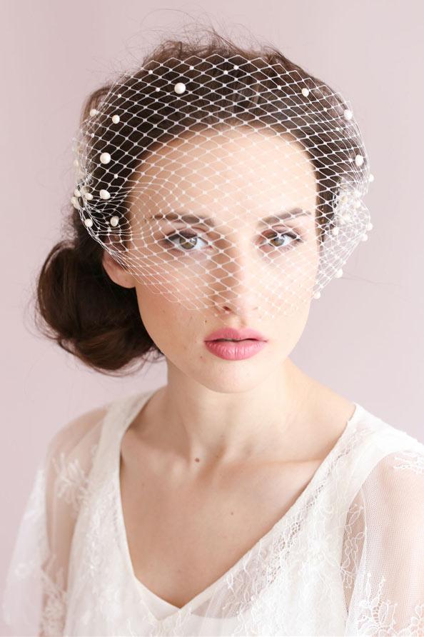voilette de mariée vintage agrémentée de perles